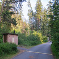 A few vault toilets are located in accessible parts of the campground.- Beauty Creek Campground