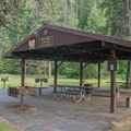 The day use shelter at Beauty Creek Campground.- Beauty Creek Campground