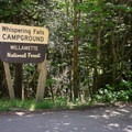 The entrance to Whispering Falls Campground.- Whispering Falls Swimming Holes