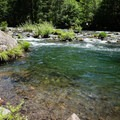The North Fork Santiam below Whispering Falls Campground.- Whispering Falls Swimming Holes