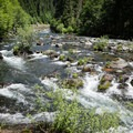 The North Fork Santiam above the campground is rocky and rough.- Whispering Falls Swimming Holes