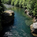 The North Santiam below the bridge slows into a deep pool.- Snyder Bridge Swimming Hole, Idanha