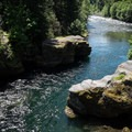 Rocks jut out and form ideal platforms.- Snyder Bridge Swimming Hole, Idanha