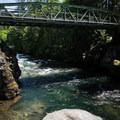 The Snyder Bridge crossing the North Santiam, Idanha.- Snyder Bridge Swimming Hole, Idanha