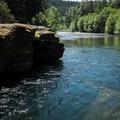 Excellent swimming below the Snyder Bridge along the North Santiam.- Snyder Bridge Swimming Hole, Idanha