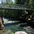 The Snyder Bridge crossing the North Santiam.- Snyder Bridge Swimming Hole, Idanha