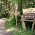 The entrance to Yukwah Campground.- Yukwah Campground
