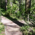 A trail follows the river.- Yukwah Campground