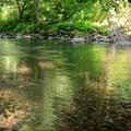 The fishing and swimming hole at Yukwah Campground.- Yukwah Campground