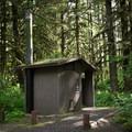 Vault toilets in Yukwah Campground.- Yukwah Campground