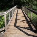 A bridge to the picnic area in Baker Bay.- Baker Bay Park, Dorena Reservoir