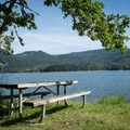 A picnic table with a view of Dorena Reservoir.- Baker Bay Park, Dorena Reservoir