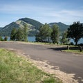 The day use parking lot in Baker Bay.- Baker Bay Park, Dorena Reservoir
