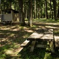 Picnic shelters and a table in Wilson Creek Park.- Wilson Creek Park, Cottage Grove Lake