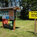 Lifejackets are available, but no lifeguard is on duty.- Wilson Creek Park, Cottage Grove Lake