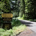 The entrance to Salmon Creek Falls Campground.- Salmon Creek Falls Campground