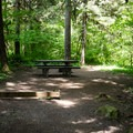 Typical site in Salmon Creek Falls Campground.- Salmon Creek Falls Campground