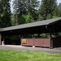 Reservable picnic shelters have water and electricity.- Shotgun Creek Recreation Area
