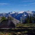 Campsite at the ridge, with views of the Stuart Range. - Icicle Ridge via Fourth of July Creek Trail