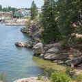 One of many swimming holes found on the shore of Lake Coeur d'Alene at Tubbs Hill.- Tubbs Hill Hiking Trails