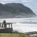View looking south toward Cape Perpetua from Yachats State Park.- Yachats State Park