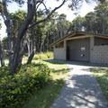 Restroom facilities at Tillicum Beach Campground.- Tillicum Beach Campground