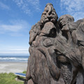 Wood sculpture at Nye Beach.- Nye Beach