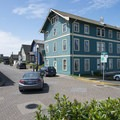 Sylvia Beach Hotel (New Cliff House) and NW Cliff Street in Nye Beach, Newport, Oregon.- Nye Beach