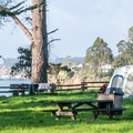 Premium sites have a view of the ocean.- New Brighton Campground