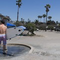 Outdoor showers are available.- San Elijo State Beach Campground