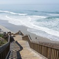 Stairs lead from the campground to the beach.- San Elijo State Beach Campground