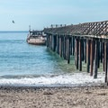 Seacliff wharf (now closed) and the cement boat.- Seacliff State Beach Campground
