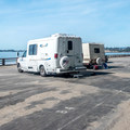 Overflow RV camping is a parking lot without hookups.- Seacliff State Beach Campground