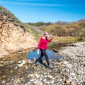 Crossing Whitehouse Creek.- Whitehouse Creek Beach