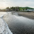 Looking north from the pier.- Cayucos State Beach