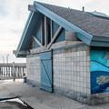 Cayucos beach facilities with a mural.- Cayucos State Beach