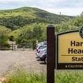 Parking area and trailhead.- Harmony Headlands State Park