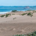 Morro Rock is visible above the dunes.- Sand Spit Day Use Area