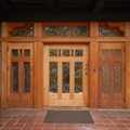 Gamble House main entry.- Gamble House National Historic Landmark