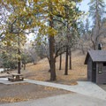 Vault toilet facility at Peavine Campground.- Peavine Campground