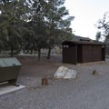 Vault toilet facility at Sycamore Flat Campground.- Sycamore Flat Campground