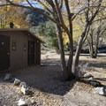 Vault toilet facility at Coldbrook Campground.- Coldbrook Campground