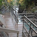 Walkway and glass viewing platform.- High Falls Gorge