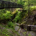The walking bridge that spans the gorge.- Texas Falls and Nature Trail