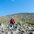 Beginning the final push up the talus field.- Mount Washington via Tuckerman Ravine Trail