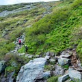 Hikers beginning the steepest section of the trail, above the waterfalls.- Mount Washington via Tuckerman Ravine Trail