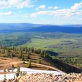 Even in summer, snow still lies on the mountain.- Hahn's Peak Lookout