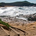 Steps lead down to the beach.- Arroyo de los Frijoles Beach