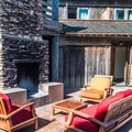 Several outdoor fireplace lounges are available.- Costanoa Lodge