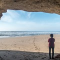 A small sea cave on San Gregorio beach.- San Gregorio State Beach